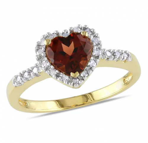 Macy's Garnet and Diamond Halo Heart Ring