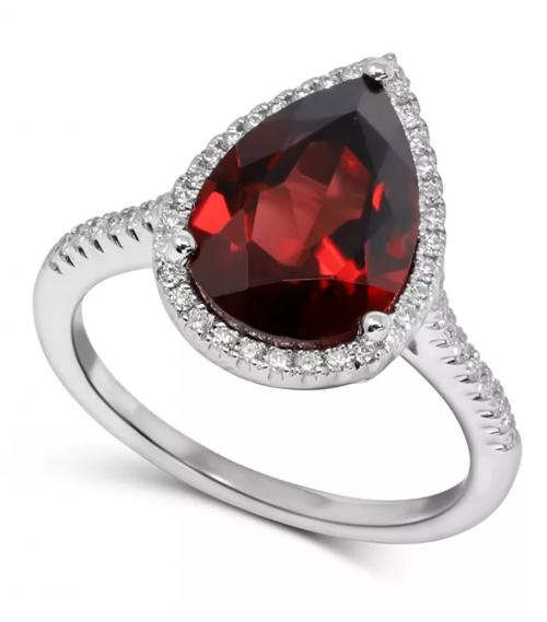 Macy's Rhodolite Garnet & Diamond Ring in 14k White Gold