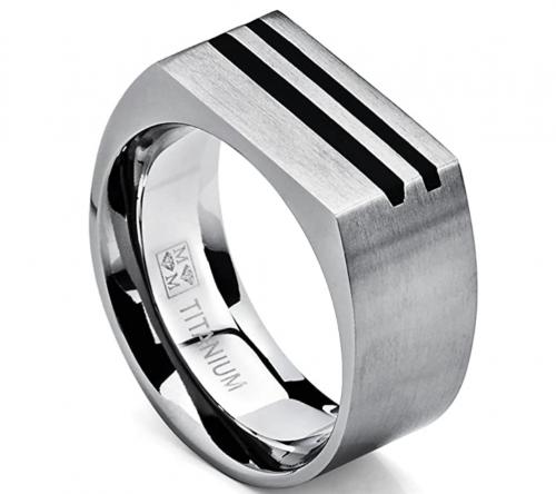 Metal Masters Co. Store Men's Bold Titanium Pinky Ring
