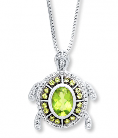 Kay Peridot Turtle Necklace in Sterling Silver