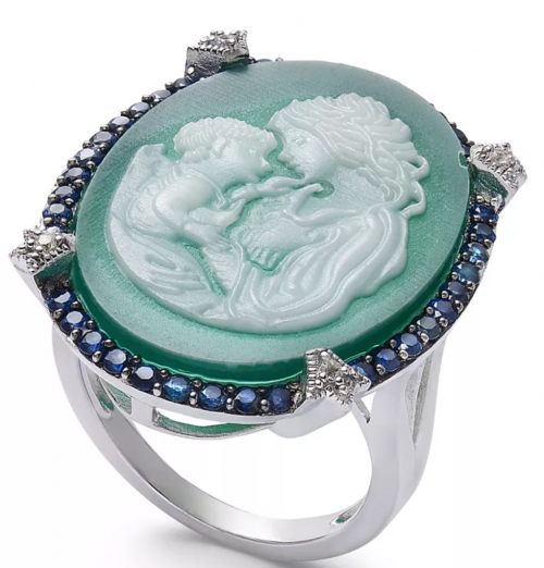Macy's Green Agate Mother & Child Cameo Ring