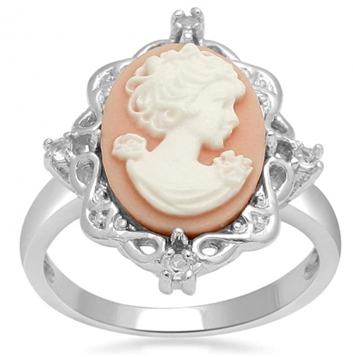 Jewelili Sterling Silver Pink Cameo Ring
