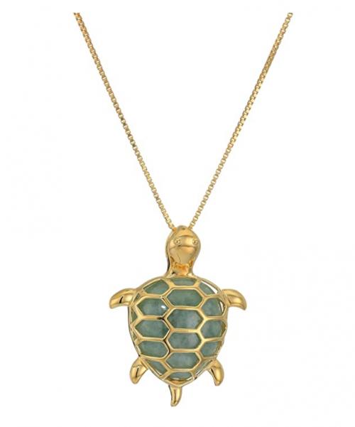 Amazon Collection Genuine Green Jade Turtle Pendant Necklace