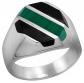 Sabrina Silver Obsidian & Malachite Ring