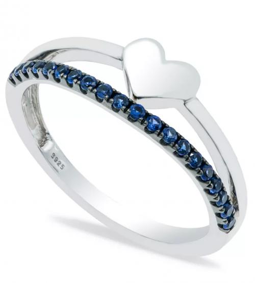 Macy's Sapphire Heart Ring in Sterling Silver