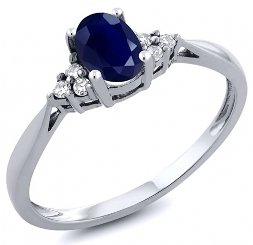 Gem Stone King White Gold Blue Sapphire Ring