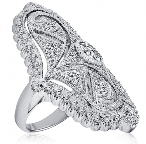 Bling Jewelry Deco Antique Style Filigree Pave CZ Wide Armor Full Finger Fashion Statement Ring