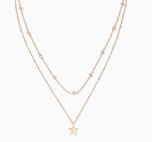 Jae Star Multi Strand Necklace In Rose Gold
