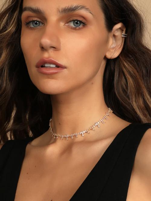 Lulus Chance to Shine 14KT Gold Rhinestone Choker Necklace