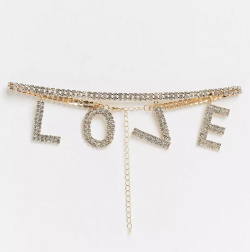 House of Pascal Love rhinestone slogan choker in gold