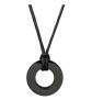 Eve's Addiction Men's Engravable Black Circle Pendant