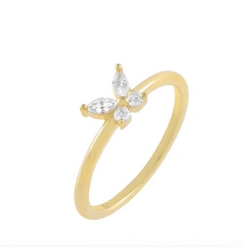 Adinas Jewels CZ Crystal Butterfly Ring