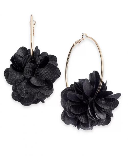 INC International Concepts Fabric Flower Hoop Earrings