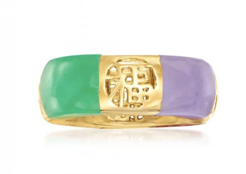 Ross Simons Multicolored Jade Chinese Symbol Ring