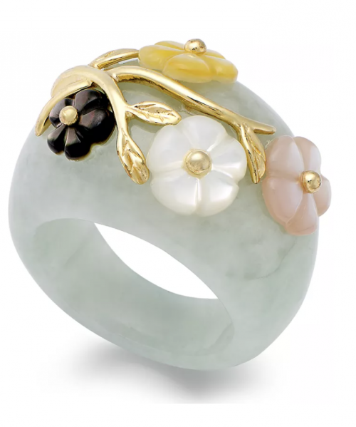 Macy's Jade and Mother of Pearl Flower Ring