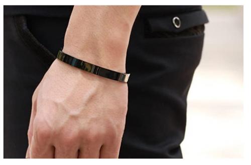 Joyplancraft Black Polish Titanium Stainless Steel Couple Bracelet