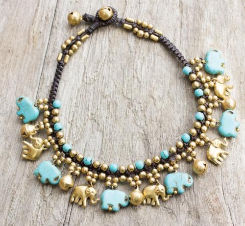 Novica Brass Elephant Anklet