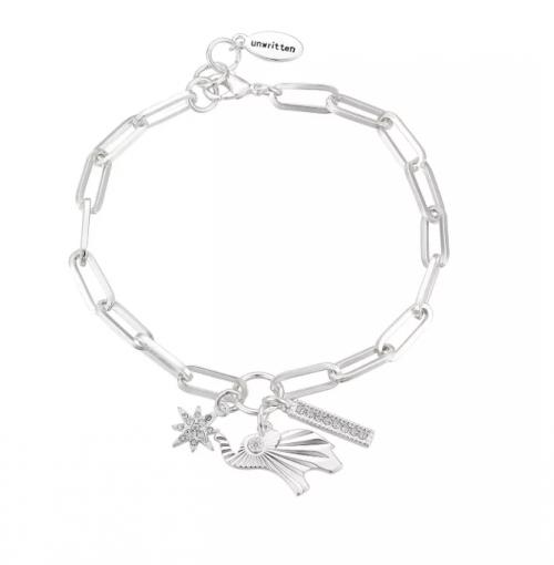 Unwritten Fine Silver Elephant Link Bracelet