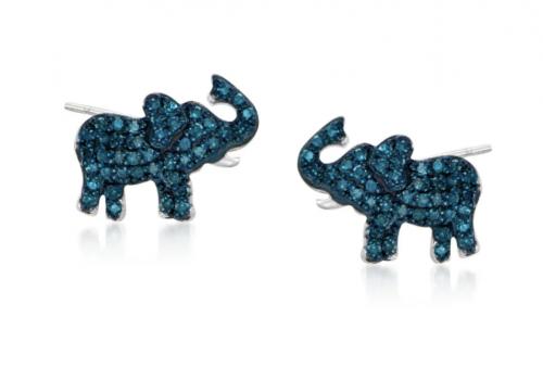Ross Simons Blue Diamond Elephant Earrings
