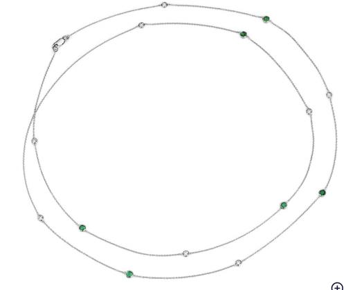 Blue Nile Petite Emerald and Diamond Necklace