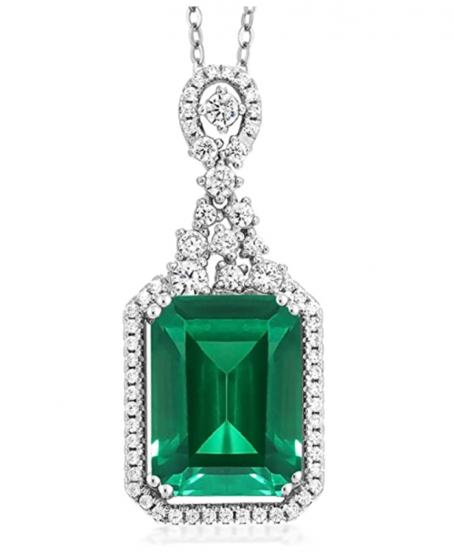 Gem Stone King Simulated Emerald Necklace