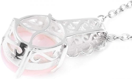 Jewelry Impressions Rose Quartz and Moonstone Pendant back