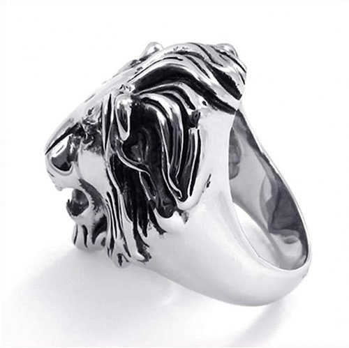 SilverCloseOut Stainless Steel Royal Lion Ring Side