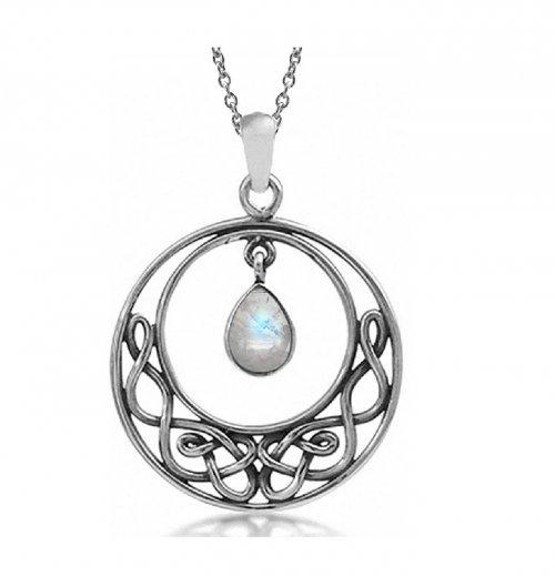 Silvershake Celtic Knot Moonstone Pendant