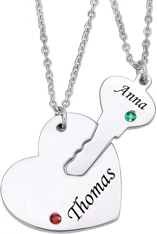 Stainless Steel Personalized Key Heart Puzzle Necklace