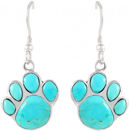 Turquoise Network Dog Paw Earrings