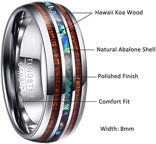 Vakki 8mm Hawaiian Koa Ring Info