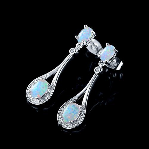 White Rose Gold Plated Opal Dangle Earrings collection