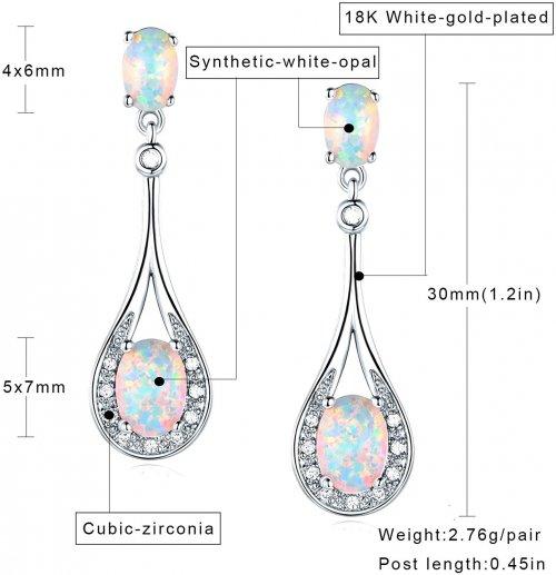 White Rose Gold Plated Opal Dangle Earrings info